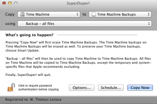 Setting SuperDuper up to move Time Machine data to a Time